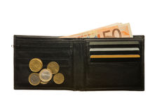 Black leather wallet with Euro notes and coins Stock Images