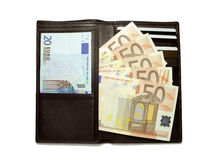 Black leather wallet full of euro bills Royalty Free Stock Images