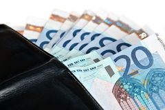 Black Leather Wallet full of Euros Stock Photography