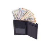 Black leather wallet full of money. Royalty Free Stock Photos