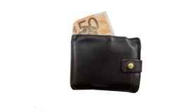 Black leather wallet full of money Royalty Free Stock Photography