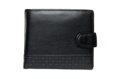 Black leather wallet isolated Stock Images