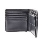 Black leather wallet isolated Stock Photo