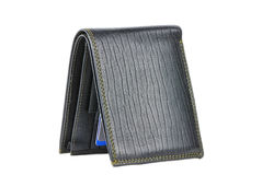 Black leather wallet isolated over white Royalty Free Stock Images