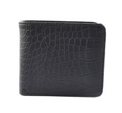 Black leather wallet isolated. Over white background, front view Stock Photography