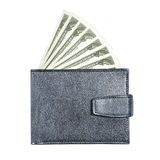 Black leather wallet isolated on white background Stock Images