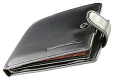 Black leather wallet isolated Royalty Free Stock Photos