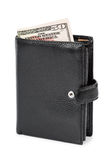 Black leather wallet Stock Images