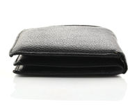Black leather wallet isolated on white background. Stock Photos
