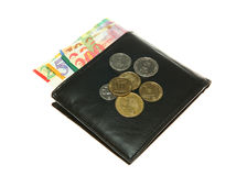 Black leather wallet with Israeli shekel Royalty Free Stock Images