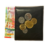 Black leather wallet with Israeli shekel Royalty Free Stock Photo