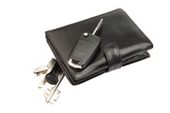 Black leather wallet and keys Stock Image