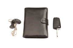 Black leather wallet and keys Royalty Free Stock Image