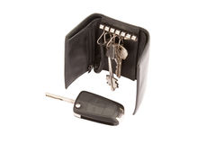 Black leather wallet with keys Stock Photo