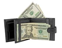 Black leather wallet with money Stock Image