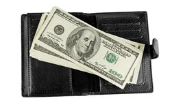 Black leather wallet with money Royalty Free Stock Images