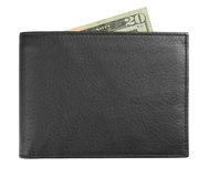 Black leather wallet with money Royalty Free Stock Photography