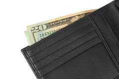 Black leather wallet with money Stock Photos