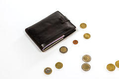 Black leather wallet and money euro Royalty Free Stock Photo