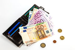 Black leather wallet and money euro Royalty Free Stock Photography