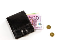 Black leather wallet and money euro Royalty Free Stock Image