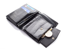 Black leather wallet with money Stock Images