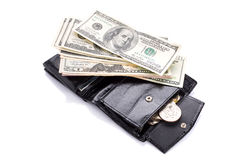 Black leather wallet with money Royalty Free Stock Image