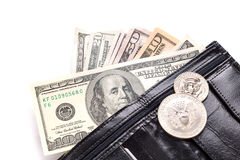 Black leather wallet with money. Isolated on white Royalty Free Stock Photos