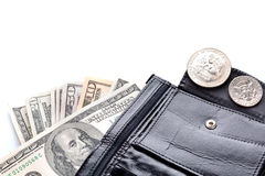 Black leather wallet with money Stock Photography