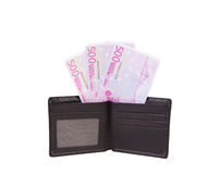Black leather wallet with money. Stock Image
