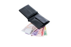 Black leather wallet with money isolated Stock Photo