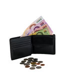 Black leather wallet with money isolated Royalty Free Stock Image