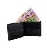 Black leather wallet with money isolated Royalty Free Stock Photos