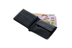 Black leather wallet with money isolated Royalty Free Stock Photo