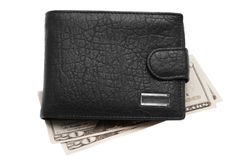Black leather wallet with money Stock Photo
