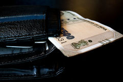 Black leather wallet with new indian currency Stock Image