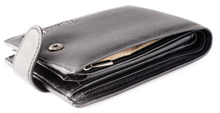 Black leather wallet over white Stock Image
