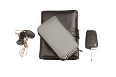 Black leather wallet, phone and keys Royalty Free Stock Photos