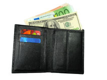Black leather wallet purse with cash us dollars, e Royalty Free Stock Photo