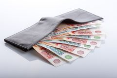 Black leather wallet with russian roubles Stock Photography