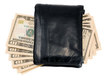 Black leather wallet with ten dollar notes. Isolated over white background Royalty Free Stock Photos
