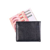 Black leather wallet with Thailand bill isolated on white Stock Photos