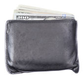 Black leather wallet with US money banknotes on white background Royalty Free Stock Image