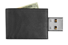 Black leather wallet with USB connector Stock Photos