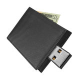 Black leather wallet with USB connector Royalty Free Stock Image