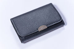 Black leather wallet on the white background Stock Images