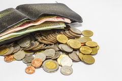 Black leather wallet on white background. Royalty Free Stock Photos