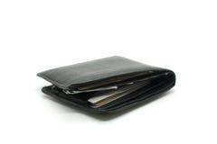 Black leather wallet on white background Stock Photos