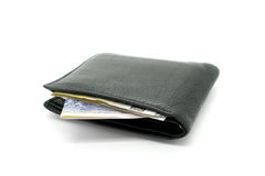 Black leather wallet on white background Royalty Free Stock Images