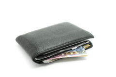 Black leather wallet on white background Royalty Free Stock Photos